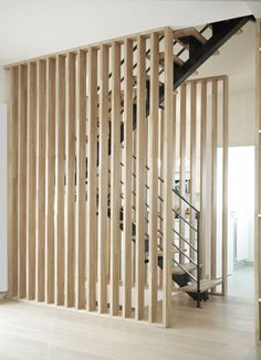 Wood Room Deviders // Natural Home Decor – Modern mid-century – Home Renovation Wood Partition, Living Room Partition, Room Partition Designs, Room Deviders, Wood Room Divider, Retro Sideboard, House Stairs, Natural Home Decor, Staircase Design