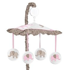 Sweet Jojo Designs Pink and Brown Mod Elephant Musical Baby Crib Mobile *** Be sure to check out this awesome product.Note:It is affiliate link to Amazon.