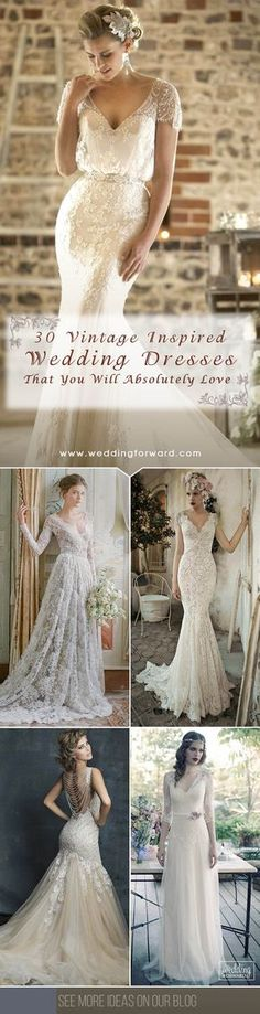 30 Vintage Inspired Wedding Dresses ❤ Most bohemian vintage wedding dresses are created from luxury, silk fabrics and finished with stunning beadwork. See more: http://www.weddingforward.com/vintage-inspired-wedding-dresses/ #vintage #wedding #dresses