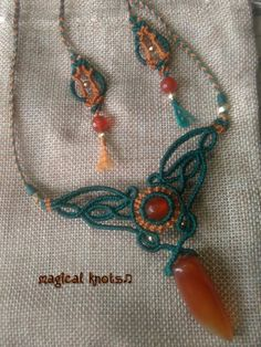 Macrame necklace with carnelian stones and bronze details