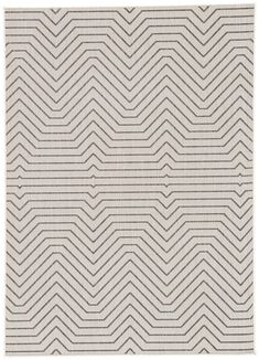 The Knox collection lends striking modernity and timeless durability to indoor and outdoor spaces. The Prima design captivates with a labyrinthine chevron-inspired pattern. This black linear motif pops on a cool cream polypropylene backdrop.