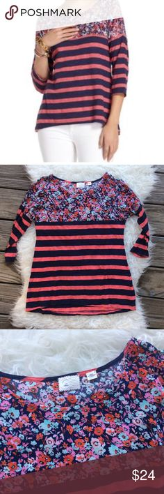 """Anthropologie Postmark Floral Striped Tee Excellent condition Postmark Floral Striped Tee from Anthropologie. Size XS. 57% cotton, 43% polyester bottom, top yoke is 100% rayon. Drop shoulder sleeve. Bust 36"""", length 24.5"""". No trades, offers welcome. Anthropologie Tops Tees - Long Sleeve"""