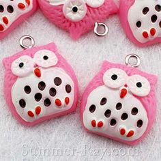Pink Spotted Owl resin charm