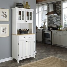 Home Styles Small Wood Bakers Rack With Two Door Hutch Racks At Hayneedle