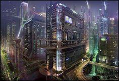 ripperdoc& clinic - More cyberpunk cityscapes. Cyberpunk City, Arte Cyberpunk, Futuristic City, Futuristic Architecture, Fantasy City, Fantasy Places, Future City, Dreamland, Witcher Wallpaper