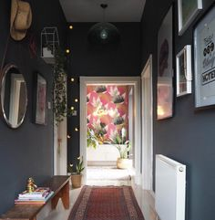 The hallway: do you neglect this room? workin from home прих Small House Decorating, Hallway Decorating, Dark Grey Hallway, Hallway Designs, Hallway Ideas, Hallway Colours, Flooring For Stairs, Small Hallways, Dark Interiors