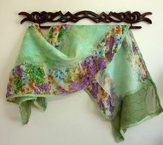 Spring Fashion Scarves Womens Floral Silk and Wool by sesenarts, $75.00