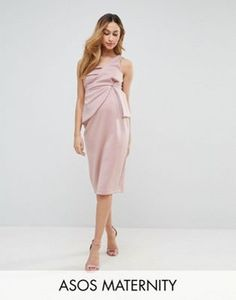 ASOS Maternity One Shoulder Fold Scuba Midi Bodycon Dress