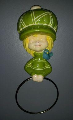 Vintage 70's Ceramic Holly Doll -  Hand Towel Ring Towel Holder - Estate - RARE