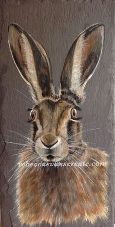 For the love of nature, natural slate tile and oil painted hare