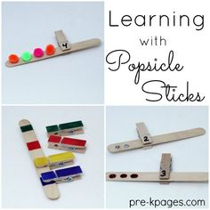 Use Clothespins and Craft Sticks to Make Learning Games for Kids. 20 Different Ways to Use Popsicle Sticks for Learning and Fun in Your Preschool Pre-K or Kindergarten Classroom Preschool Centers, Activity Centers, Kindergarten Classroom, Classroom Themes, Popsicle Stick Crafts For Kids, Popsicle Sticks, Craft Stick Crafts, Craft Sticks, Pre K Pages