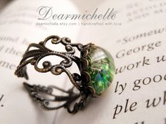 Transcendence (Emerald Green) - Victorian Style Antique Bronze Vintage Starfire Glass Opal Ring, Friendship Matching Jewelry