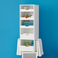 Rotating Storage Tower: Mirror On One Side, Cabinet U0026 Storage Trays On The  Other