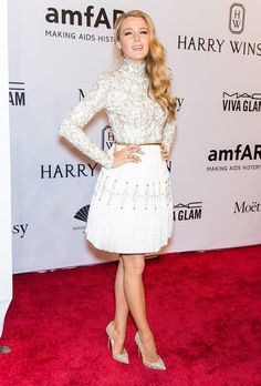Pin for Later: Blake Lively Reminds Us All Why the Red Carpet Really Is a Fashion Fantasy  Blake wore a shimmering, turtleneck Chanel dress to the amfAR gala in NYC.