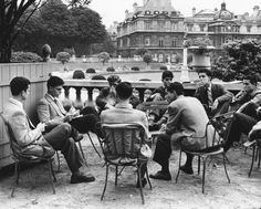 Students from the Sorbonne in the Luxembourg Gardens, 1950.