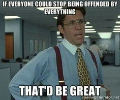 If everyone could stop being offended by everything, that'd be great.