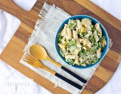 Low Fat Creamy Penne Pasta with Vegetables & Kale - a healthy spin on traditional comfort food!