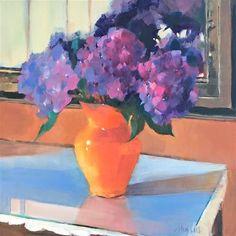 Barbara Benedetti Newton Gallery of Original Fine Art Monet Paintings, Fine Art Gallery, Art For Sale, Flower Art, Still Life, Vase, Orange, Artist, Hydrangeas