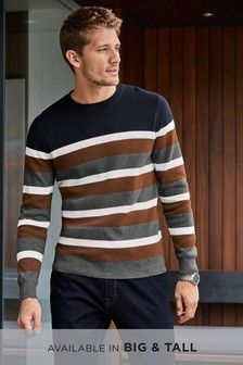 Buy Navy/Tan Stripe Crew Jumper from the Next UK online shop Mens Fashion Sweaters, Casual Sweaters, Men Sweater, Stylish Men, Men Casual, Casual Styles, Suspenders For Boys, Burberry Men, Gucci Men