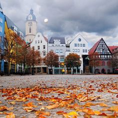 "Markt, #Jena, Thüringen, Deutschland left Church St.Michael; right Stadtmuseum ""Göhre"""