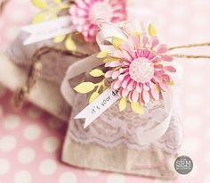 Pretty Burlap and lace bag!
