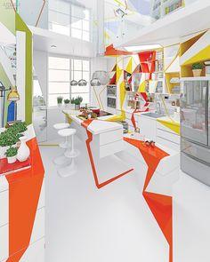 Big Ideas: Twin Designers at Brani & Desi Remake Chemists' House in Sofia | Multicolored kitchen #interiordesign #interiordesignmagazine #design #kitchen