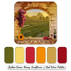 Wedding Color Palettes | wedding line in Italian style with a vineyard theme. The color palette ...