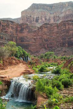 New Navajo Falls in Havasupai - Arizona Havasupai Waterfalls, Arizona Waterfalls, Havasupai Arizona, Havasupai Falls, Beautiful World, Beautiful Places, Hiking Places, Arizona Travel, Places