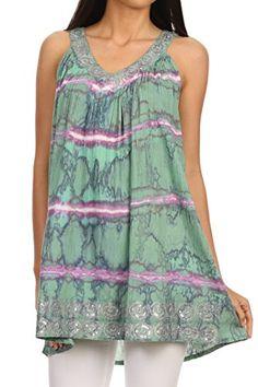 Sakkas 11626 - Naya Sequin Embroidered Relaxed Fit Sleeveless V-Neck Top - Mint - OS Sakkas http://www.amazon.com/dp/B00VU1JHLQ/ref=cm_sw_r_pi_dp_Et0Gvb158RKQ1