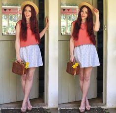 Mod Dolly. (by Megan McMinn) http://lookbook.nu/look/4758343-Mod-Dolly-Shirt-Skirt-Basket-Heels-Boater-Hat