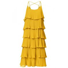 Lindy Pleated Ruffle Dress ($68) ❤ liked on Polyvore featuring dresses, frilled dress, frill dress, pleated dress, frilly dresses and yellow pleated dress