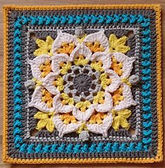 Crochet Square Patterns, Crochet Blocks, Crochet Squares, Crochet Motif, Crochet Designs, Crochet Flowers, Crochet Stitches, Free Crochet, Granny Squares
