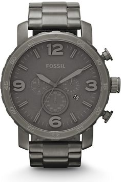Fossil Men's JR1400 Nate Chronograph Stainless Steel Smoke Band and Dial Watch < $115.95 > Fossil Watch Men