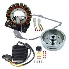 Kit Stator + Improved Flywheel + Mosfet Regulator Rectifier + Crankcase Cover Gasket For Suzuki LTA 400 Eiger 2002-2007 OEM Repl.# 32101-38F00 32102-38F00 32102-38F01 32800-38F10 32800-42F00 -- Awesome products selected by Anna Churchill