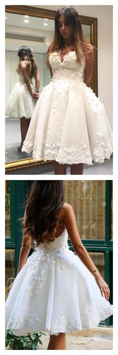 ivory homecoming dresses, 2017 homecoming dresses, sweetheart homecoming dresses, homecoming dresses short, applqiue tulle homecoming dresses,cheap homecoming dresses, cocktail dresses, graduation dresses, party dresses,short prom dresses #SIMIBridal #homecomingdresses