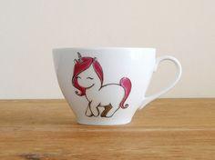 Unicorn teacup and rainbow saucer unicorn coffee mug von vitaminaeu