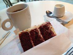 red velvet cake with tea