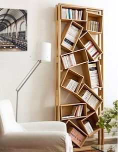 Awesome 38 Creative Diy Bookshelf Ideas To Try Asap. : Awesome 38 Creative Diy Bookshelf Ideas To Try Asap. Bookshelves For Small Spaces, Cheap Bookshelves, Build In Bookshelves, Creative Bookshelves, Contemporary Bedroom, Contemporary Furniture, Contemporary Building, Contemporary Kitchens, Contemporary Apartment