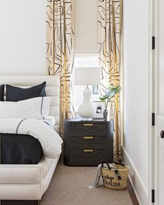 Fun And Eco-Helpful Solutions To Remodel Your Yard Bedroom Featuring Kelly Wearstler Graffito Custom Drapes Helen Davis Design Drapes And Blinds, Drapes Curtains, Silk Drapes, Blue Drapes, Drapery, Bedroom Drapes, Bedroom Decor, Bedrooms, Kelly Wearstler Wallpaper