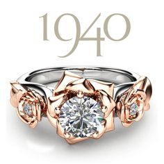 Platinum was requisitioned for war efforts during World War 2. And this caused gold to become the metal of choice for engagement rings.    The 1940's saw a slow turn away from the sharp lines of the Art Deco era. And this time toward floral-inspired rings with a focus on a solitary stone instead of multiple little stones in a ring. Vintage Style Engagement Rings, Beautiful Engagement Rings, Engagement Ring Styles, Art Deco Era, Camellia, Fashion Rings, Sapphire, Stones, Vintage Fashion