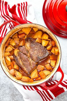 Cooking flavorful, well-marbled chuck roast (I used home-raised wagyu beef) low and slow in a dutch oven yields melt-in-your-mouth tender and unbelievably flavorful pot roast! Easy pot roast recipe for the BEST one pot meal! #potroast #onepotmeal #beefroast #wagyubeef