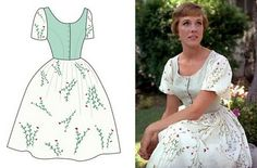 one•little•m: June 2010 This playful dress appears in the scene at the VonTrapp party where Maria teaches Kurt an Austrian folk dance called the Ländler.