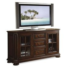 Riverside Cantata 60 Inch High Waist TV Console in Burnished Cherry - 4929 - Riverside Furniture Riverside Furniture, Hudson Furniture, Nebraska Furniture Mart, Find Furniture, Furniture Ideas, Cherry Tv Stand, Flat Screen Tv Stand, Riverside House, Cool Tv Stands