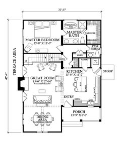 First Floor Plan of Craftsman House Plan 57068