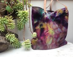The Canari Tote  dyed canvas tote bag Market by MyALaModeBoutique