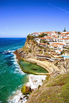 azenhas do mar white village landmark on the cliff and atlantic ocean sintra lisbon portugal europe. Top Travel Destinations, Amazing Destinations, Places To Travel, Places To See, Travel Tips, Azenhas Do Mar, Sintra Portugal, Destination Voyage, Portugal Travel