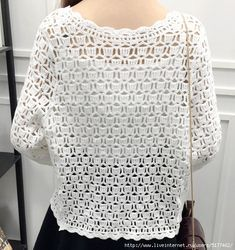 Spring Summer Crochet White Lace Blouse Women Fashion Tops Sexy Hollow Out Knitted Cardigan Chemise Femme Crochet Stitches Patterns, Baby Knitting Patterns, Crochet Cardigan, Crochet Top, Crochet Fashion, Crochet Clothes, Blouses For Women, Summer Tops, Spring Summer