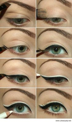 Black and white eyeliner: a how-to on the biggest, brightest retro eye makeup! #beauty #makeup #eyeliner #cateye #wingedlinerhowto