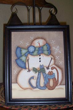 Primitive Folkart Handpainted Home Decor by Primgal Snowman Kitty Handpainted Winter Framed Canvas-Home Decor Christmas Makes, Christmas Wood, Christmas Pictures, Christmas Snowman, Christmas Ornaments, Christmas Ideas, Xmas, Primitive Painting, Tole Painting