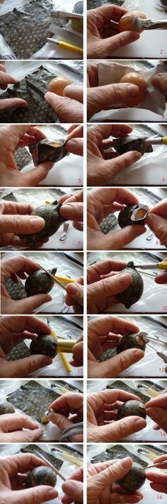 Joan Tayler Design - advice on how to cover a blown egg with clay, as an underlayer.
